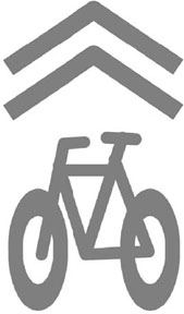 "Shared lane sign. Also known as ""sharrow"""